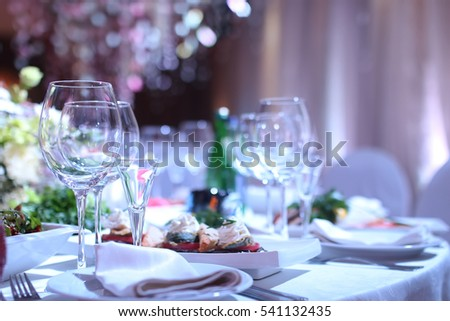 wineglass on a table in a restaurant