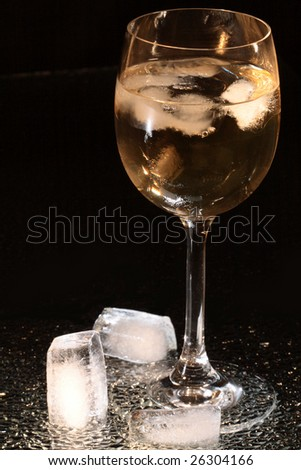 Wineglass with ice