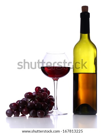 Wineglass with red wine, grape and bottle isolated on white