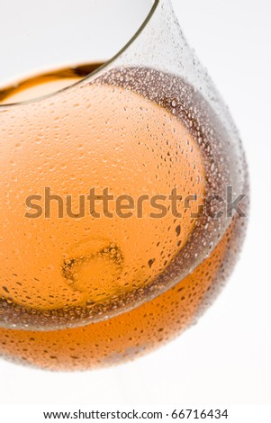 wineglass with rose wine - stock photo