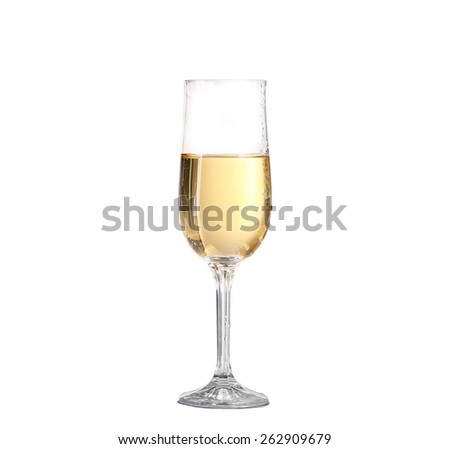 Wineglass with white wine. Concept and idea - stock photo