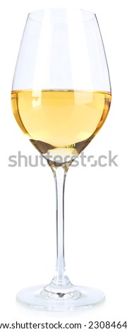 Wineglass with white wine isolated on white - stock photo
