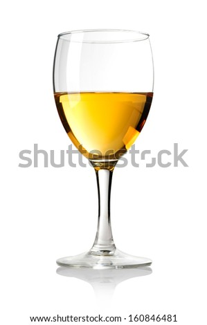 Wineglass with white wine.on wite background. With clipping path - stock photo