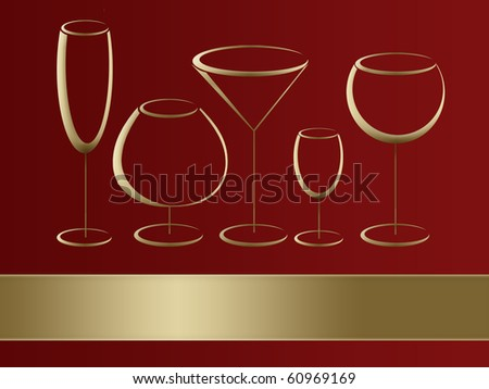Wineglasses for alcohol drinks - stock photo