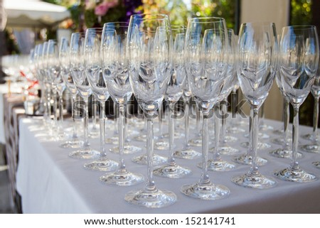 wineglasses on wedding banquet table - stock photo
