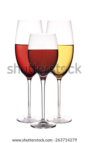 Wineglasses with red and white wine isolated on white background - stock photo
