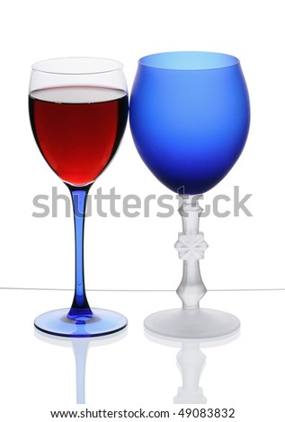 Wineglasses with red wine isolated on white background