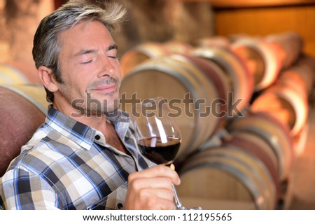 Winemaker enjoying the smell of red wine - stock photo