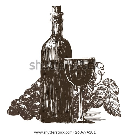 winemaking, wine on a white background. sketch - stock photo
