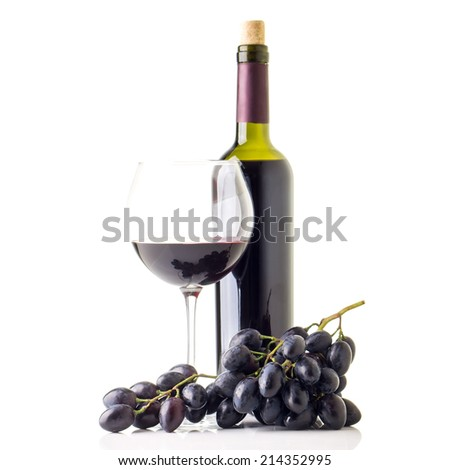 Winery background with bottle of red wine and glass. Blue grapes isolated on white background - stock photo