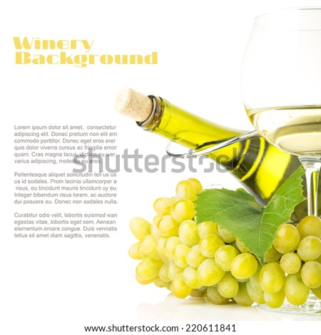 Winery background with copy space. Cluster of White grapes with bottle of white wine isolated on white background - stock photo