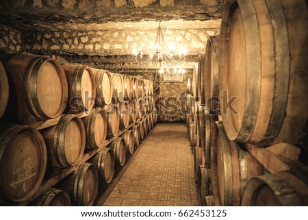 Winery cellar with wine barrels
