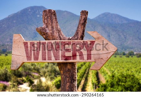 Winery wooden sign with winery background - stock photo