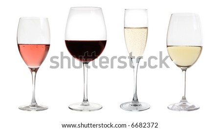 wines collection isolated on white - stock photo