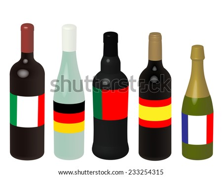 Wines of Europe Bottles with Flags 3D - stock photo