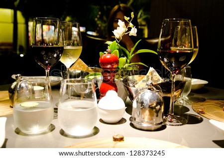 wines on the dinner table