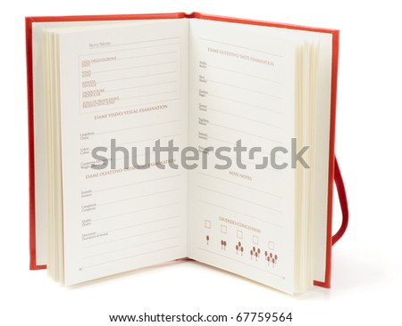 Winetasting notebook on white background with shadow - stock photo