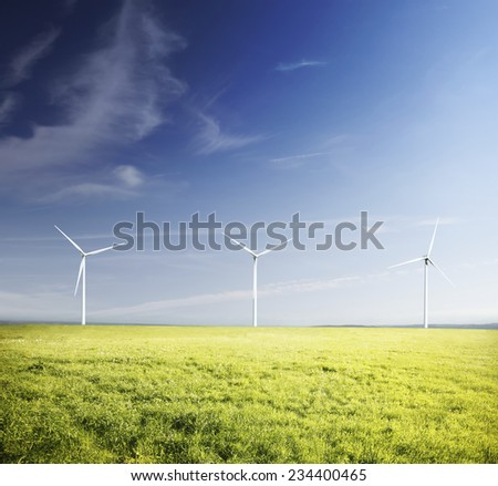 Winf turbines in a green field