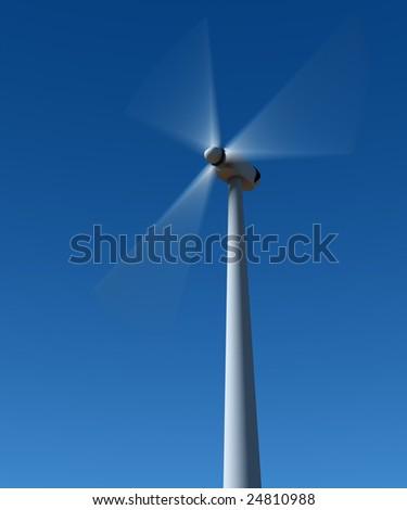 Wing generator rotation on blue sky. - stock photo