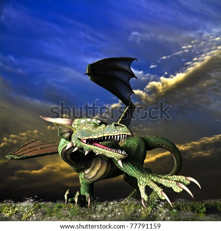 Winged Dragon in action showing teeth and claws. Background a dramatic sunrise sunset sky. Landscape of wildflowers and grass. Illustration - stock photo