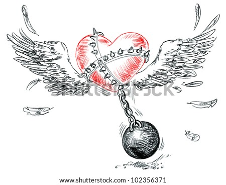Winged heart fettered fetters. Hand-drawn - stock photo