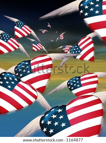 Winged USA hearts fly off into the night to face hidden dangers