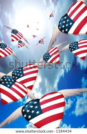 Winged USA Hearts in flight