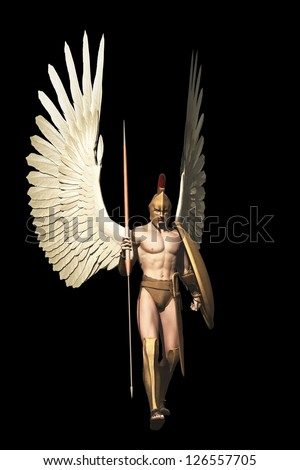 Winged warrior in with Grecian spear and shield isolated on black - stock photo