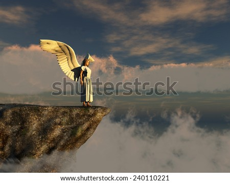 Winged woman on the edge of a cliff - stock photo