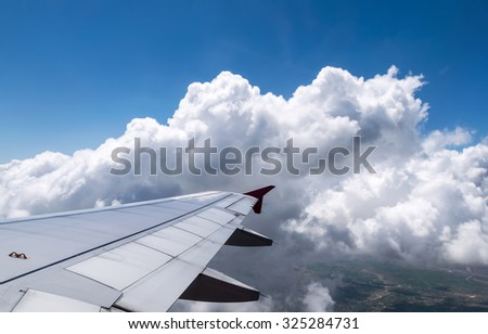 Wings aircraft with blue sky