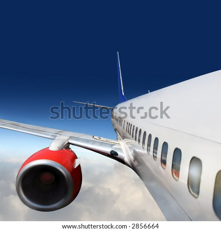 wings and engines of aircraft - stock photo