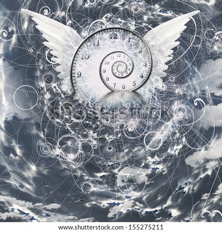 WIngs and time spiral - stock photo