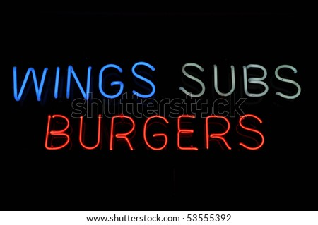 Wings Subs Burgers Sign Food Neon Sign - stock photo