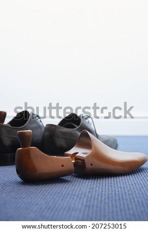Wingtips with Shoe Tree - stock photo