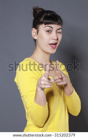 """winking_and_pointing"" Stock Photos, Royalty-Free Images ..."
