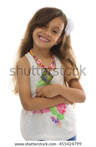 Winking Attractive Young Girl With Beautiful Smile Isolated on White Background - stock photo