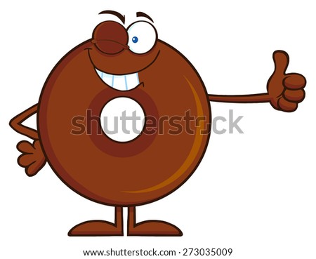 Winking Chocolate Donut Cartoon Character Giving A Thumb Up. Raster Illustration Isolated On White - stock photo