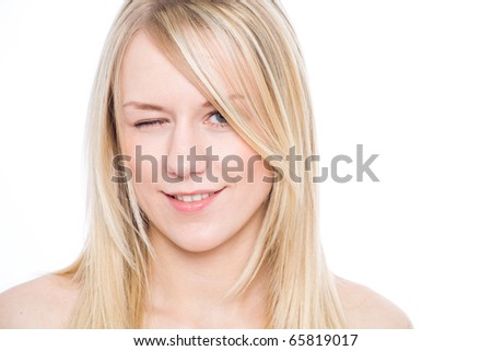 Winking girl - stock photo