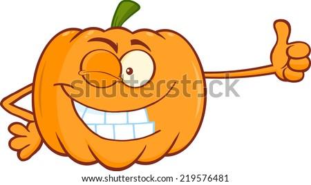 Winking Pumpkin Cartoon Mascot Character Giving A Thumb Up. Raster Illustration - stock photo