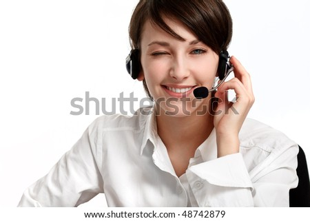 winking woman operator with headset - microphone and headphones, on white - stock photo