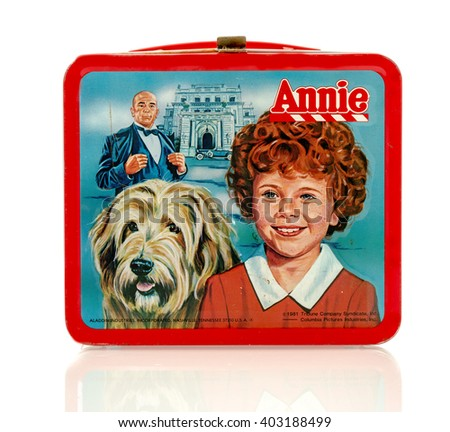 Winneconne, WI - 8 April 2016:  Lunch box featuring Annie on an isolated background.