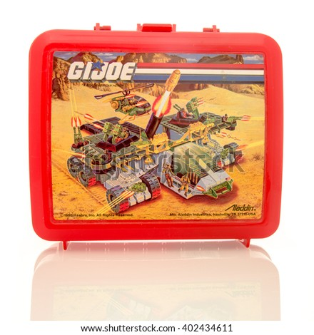 Winneconne, WI - 6 April 2016:  Plastic lunch box featuring G.I. Joe on an isolated background. - stock photo