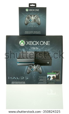 Winneconne, WI - 13 Dec 2015: Box of the XBOX ONE gaming console made featuring the Halo 5 edition with addtional remote control. - stock photo
