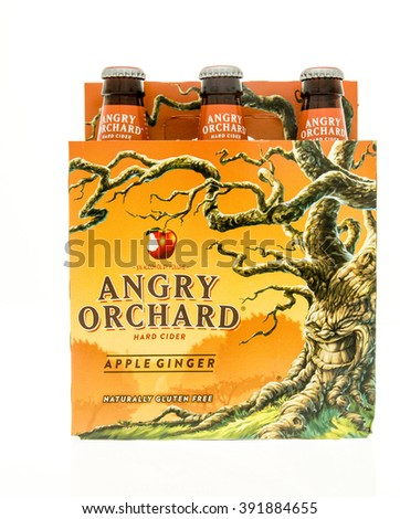 Winneconne, WI - 15 March 2016:  A six pack of Angry Orchard hard cider in apple ginger flavor