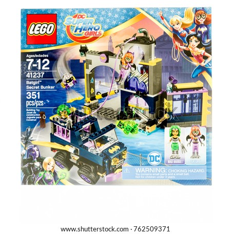 Lego batgirl stock images royalty free images vectors winneconne wi 19 november 2017 a box of lego featuring dc super hero voltagebd Image collections