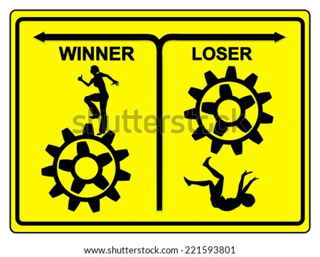 Winner and Loser. The difference between winner and loser, the winner keeps trying, the looser quits - stock photo
