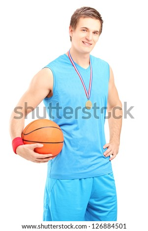 Winner basketball player posing with a golden medal isolated on white background - stock photo