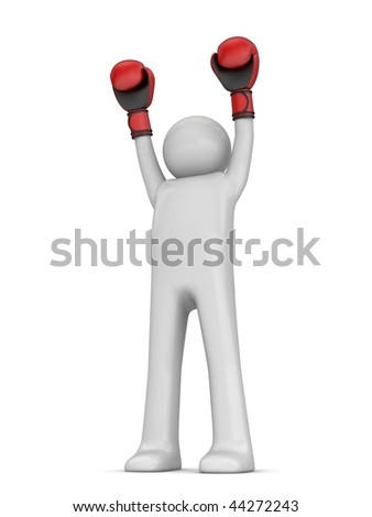 Winner boxer (3d isolated characters sports series) - stock photo
