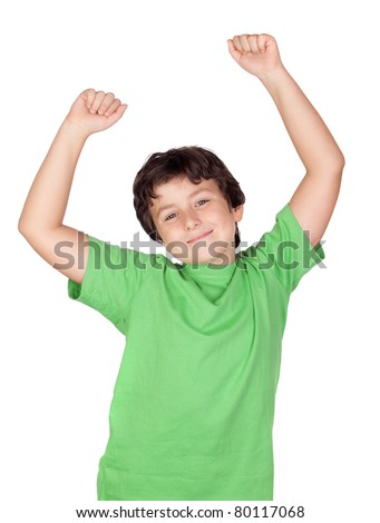 Winner boy with green t-shirt isolated on a white background - stock photo