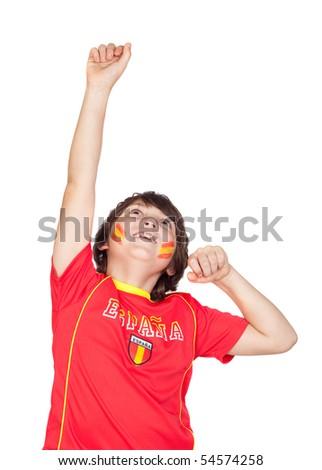 Winner child fan of the Spanish team celebrating a goal isolated on white background - stock photo